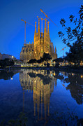 Christian Sacred Framed Prints - Sagrada Familia At Dusk Framed Print by Yhun Suarez