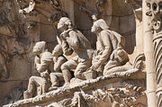 Nativity Prints - Sagrada Familia Barcelona Nativity Facade Detail Print by Matthias Hauser