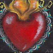 Sacred Heart Paintings - Sagrado Corazon 1 by  Abril Andrade Griffith