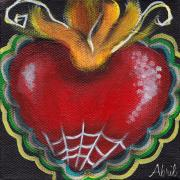 Religious Art Painting Posters - Sagrado Corazon 2 Poster by  Abril Andrade Griffith