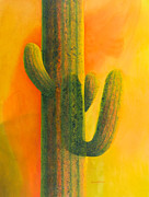 Saguaro Framed Prints - Saguaro in Summer Framed Print by Sandra Neumann Wilderman