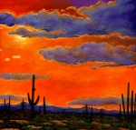 Landscapes Art Painting Framed Prints - Saguaro Sunset Framed Print by Johnathan Harris