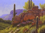 Western Usa Painting Posters - Saguaro Sunshine Poster by Cody DeLong