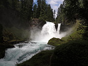 Fall Photographs Mixed Media Framed Prints - Sahalie Falls 120 Feet High - Formed by Second Lava Flow 3000 Years Ago Framed Print by Photography Moments - Sandi