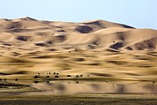 Moroccan Framed Prints - Saharan Lake And Sand Dunes Framed Print by Bob Gibbons