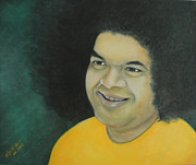 Baba Painting Posters - Sai BaBa in Memoriam Poster by Desiree Micaela