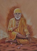 Sai Faces Paintings - Sai Baba Of Shirdi Painting by Anju Rastogi