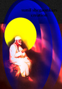 Saibaba Of Shirdi Paintings - Sai On Stone by Sunil Shegaonkar