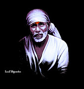 Shirdisaibaba Paintings - Saibaba  Portrait 10 By Sunil Shegaonkar by Sunil Shegaonkar