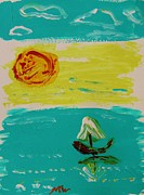 Hot Artist Drawings - Sail and Hot Sun by Mary Carol Williams