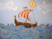 Vikings Painting Posters - Sail Away - Vikings Boat Poster by Melina Mel P