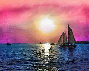 Sailboat Ocean Mixed Media Posters - Sail Away Poster by Anthony Caruso