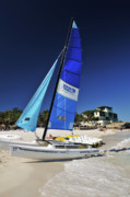 Azure Prints - Sail boat on the beach Print by Andriy Zolotoiy