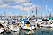 Baybridge Photo Prints - Sail Boats at San Francisco China Basin Pier 42 With The Bay Bridge in The Background . 7D7666 Print by Wingsdomain Art and Photography
