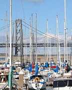 San Francisco Giants Photo Prints - Sail Boats at San Francisco China Basin Pier 42 With The Bay Bridge in The Background . 7D7683 Print by Wingsdomain Art and Photography