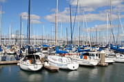 Baybridge Photo Prints - Sail Boats at San Francisco China Basin Pier 42 With The Bay Bridge in The Background . 7D7688 Print by Wingsdomain Art and Photography