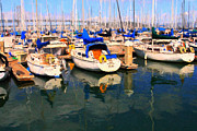 Sf Giants Prints - Sail Boats At San Franciscos Pier 42 . Dark Version Print by Wingsdomain Art and Photography