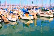 Sf Giants Prints - Sail Boats At San Franciscos Pier 42 Print by Wingsdomain Art and Photography