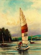 Water Vessels Paintings - Sail Boats At Sea by Carole Spandau