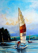Great Outdoors Painting Prints - Sail Boats On The Lake Print by Carole Spandau