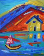 Primitive Raw Art Paintings - Sail by the Mountains by Mary Carol Williams