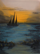 Waterscape Pastels Metal Prints - Sail into the Evening Metal Print by Shelby Kube