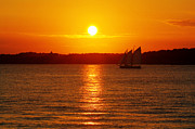 Yellow Sailboats Posters - Sail Off Into The Sunset Poster by Andrew Pacheco