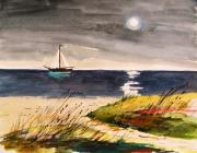Summer Impression Drawings Prints - Sail with a Hazy Moon Print by John  Williams
