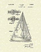 Sailboat 1938 Patent Art Print by Prior Art Design