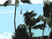 Workplace Framed Prints - Sailboat and Luscious Palms Framed Print by Karen Nicholson