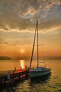 Acrylic Print Photos - Sailboat and Sunrise by Steven Ainsworth