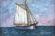 Sailboat Ocean Pastels Posters - Sailboat Poster by Arline Wagner