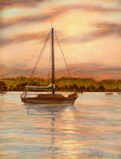 Warm Summer Drawings Prints - Sailboat At Sunset Print by Diane Bay