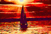 Razzmatazz Art - Sailboat at sunset by Jim Lepard