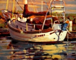 Boat Painting Posters - Sailboat Poster by Brian Simons