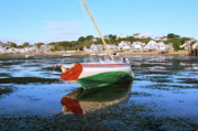 Sailboat Framed Prints - Sailboat El Viento Provincetown harbor waterfront Framed Print by Roupen  Baker