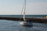Jim Vansant - Sailboat Heading Out of the South Haven Breakwater