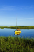 Massachusettes Prints - Sailboat in Cape Cod Bay Print by John Greim