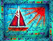 Waves. Ocean Tapestries - Textiles Prints - Sailboat in the Sun Print by Sue Duda