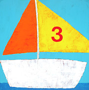 Kids Art Mixed Media Posters - Sailboat Poster by Laurie Breen
