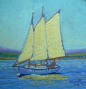 Sailboat Ocean Pastels Posters - Sailboat Mahone Bay Poster by Rae  Smith PSC