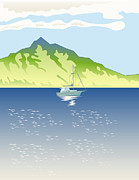 Sailboat Ocean Digital Art Prints - Sailboat Mountains Retro Print by Aloysius Patrimonio