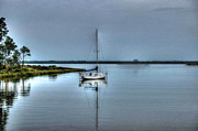 Crimson Tide Prints - Sailboat off Plash Print by Michael Thomas