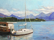 Serene Landscape Painting Originals - Sailboat on Lake Lucerne Switzerland by Anna Bain