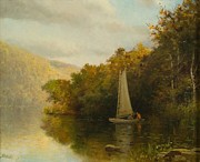 Autumn Landscape Painting Prints - Sailboat on River Print by Arthur Quarterly
