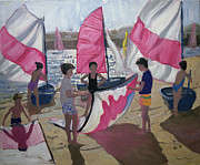 Seashore Paintings - Sailboat Royan France by Andrew Macara