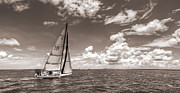 Sepia Acrylic Prints - Sailboat Sailing on the Charleston Harbor Sepia Beneteau 40.7 by Dustin K Ryan
