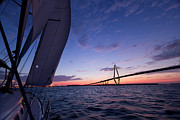Arthur Ravenel Jr Bridge Framed Prints - Sailboat Sailing Sunset on the Charleston Harbor  Framed Print by Dustin K Ryan
