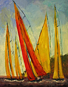 Sailboats Paintings - Sailboat studies 2 by Julie Lueders