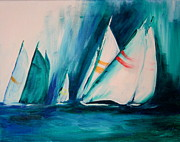 Regatta Prints - Sailboat studies Print by Julie Lueders